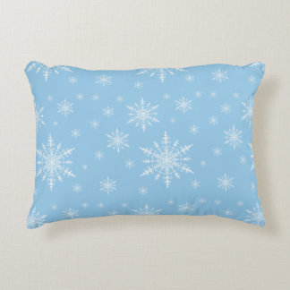 Winter White Snowflakes on Light Cornflower Blue Decorative Pillow