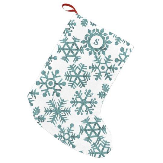 Winter White Teal Snowflake Pattern Monogram Small Christmas Stocking