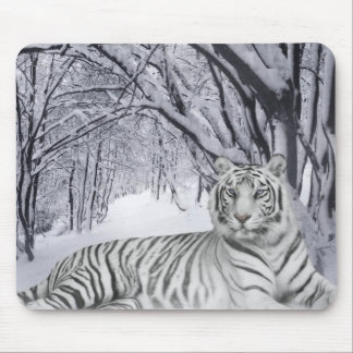 Winter White Tiger Mousepad