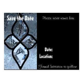"Winter window ""save the date"" postcard"