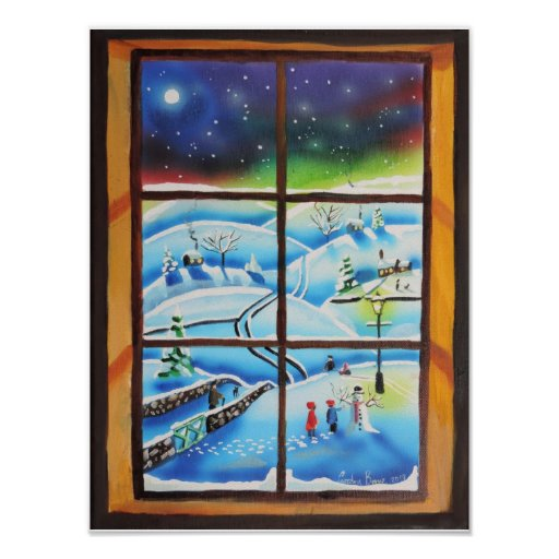Winter Window wall mural painting Poster