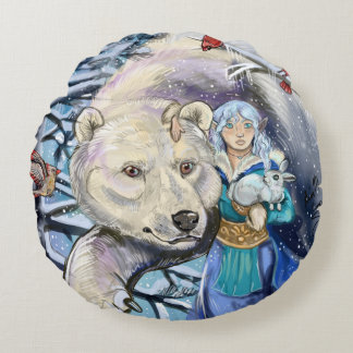 Winter Winds Polarbear Round Pillow