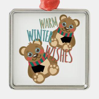 Winter Wishes Silver-Colored Square Ornament