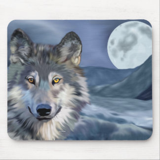 Winter Wolf Full Moon Mouse Pad