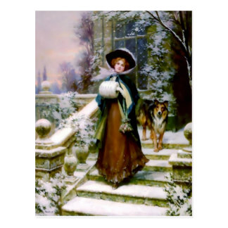 Winter Woman Collie Dog Victorian Hand Muff Postcard
