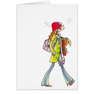 winter women shopping notecard
