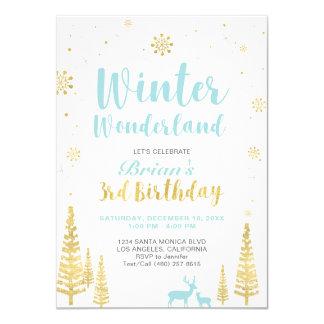 Winter Wonderland - 3rd Birthday Invitation - Boy