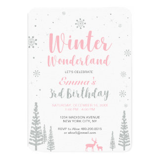 Winter Wonderland 3rd Birthday Invitation, Girl Card