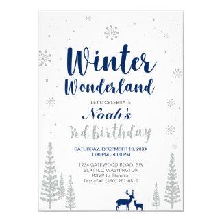 Winter Wonderland 3rd  Boy Birthday Invitation