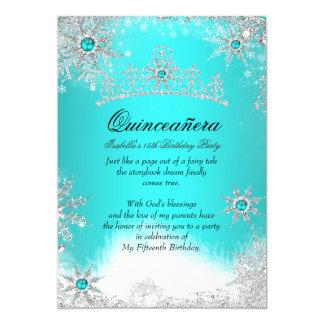 "Winter Wonderland Aqua Blue Quinceanera Party 5"" X 7"" Invitation Card"