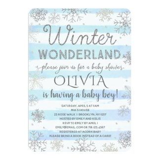 Winter Wonderland Baby Shower Invitation Boy Blue
