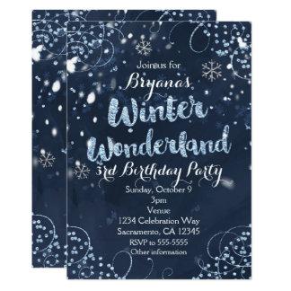 Winter Wonderland Blue Elegant Party Invitations