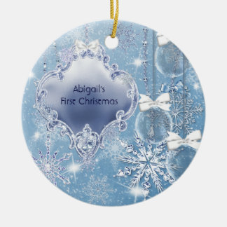 Winter Wonderland Blue Ice Baby's First Christmas Ceramic Ornament