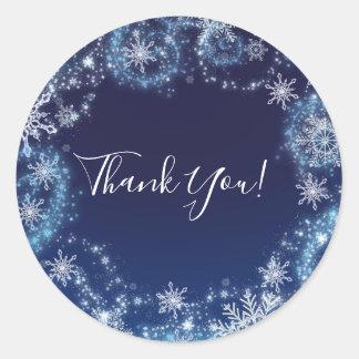 Winter Wonderland Blue & White Snowflakes Favor Classic Round Sticker
