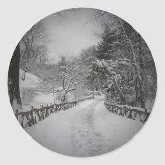 Winter Wonderland, Central Park, New York City Round Sticker