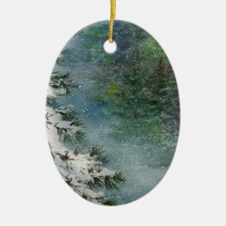 Winter Wonderland Ceramic Oval Ornament