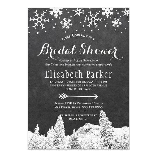Winter wonderland chalkboard bridal shower card