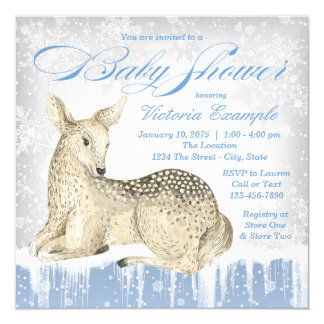 Winter Wonderland Deer Baby Boy Shower Invitation