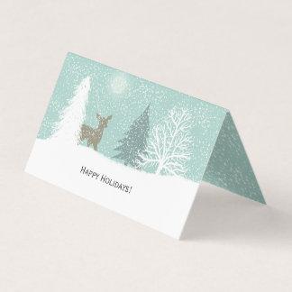 Winter Wonderland deer, snow pine trees Christmas Card