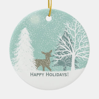 Winter Wonderland deer, snow pine trees Christmas Ceramic Ornament