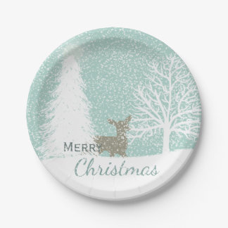 Winter Wonderland deer, snow pine trees Christmas Paper Plate