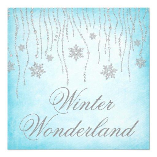 Winter Wonderland Diamond Snowflakes Prom Custom Invitations
