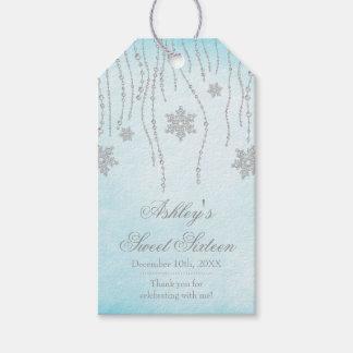Winter Wonderland Diamond Snowflakes Sweet 16 Gift Tags