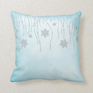 Winter Wonderland Diamond Snowflakes Teal Blue Throw Pillow