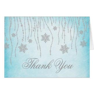 Winter Wonderland Diamond Snowflakes Thank You Card