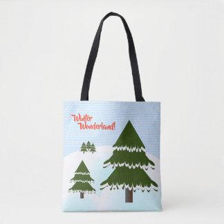 Winter Wonderland Evergreen Trees Tote Bag