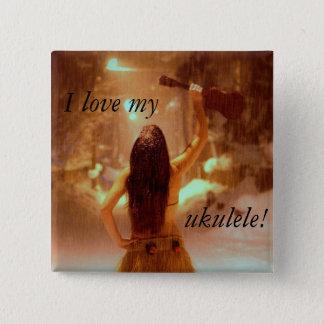 Winter wonderland, I love my, ukulele! 2 Inch Square Button