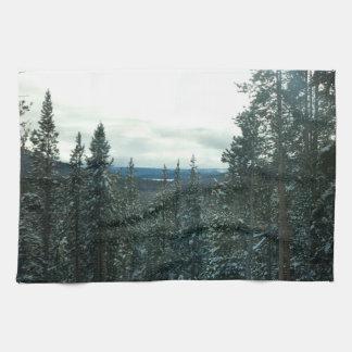 Winter Wonderland Kitchen Towel snow covered pines