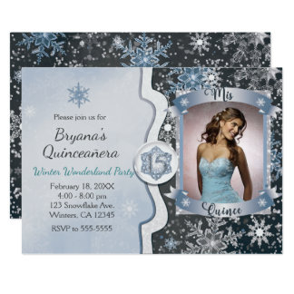 Winter Wonderland Mis Quince 15 Photo Invitations