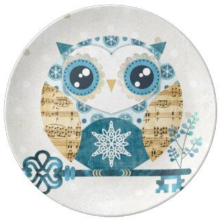 Winter Wonderland Owl Porcelain Plate