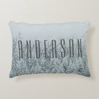 Winter Wonderland Pine Forest Family Name Decorative Pillow