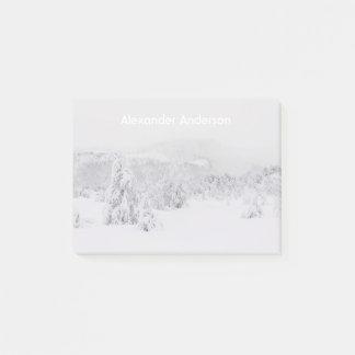 Winter wonderland serene landscape with fog post-it notes