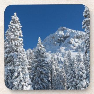 Winter Wonderland Snow Covered Trees Mountains Beverage Coaster