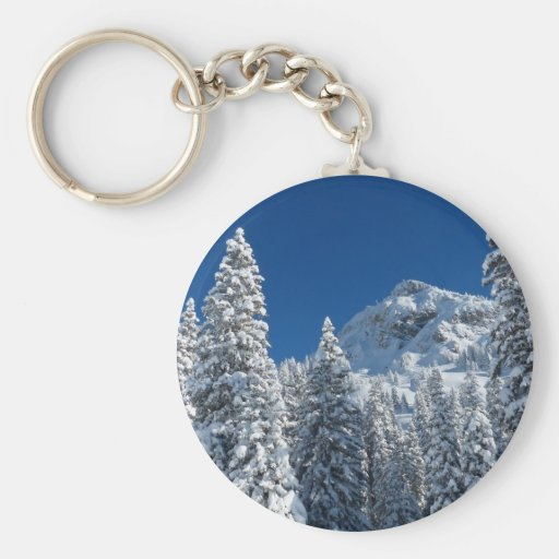 Winter Wonderland Snow Covered Trees Mountains Keychains