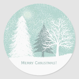 Winter Wonderland , snow pine trees Christmas Classic Round Sticker