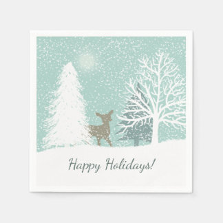Winter Wonderland  snow pine trees Christmas Paper Napkin