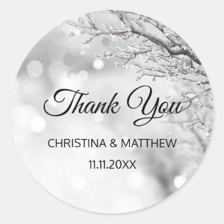 Winter Wonderland Snow Wedding THANK YOU Classic Round Sticker