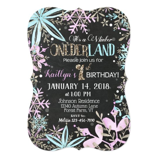 Winter Wonderland Snowflake Chalkboard Birthday Card