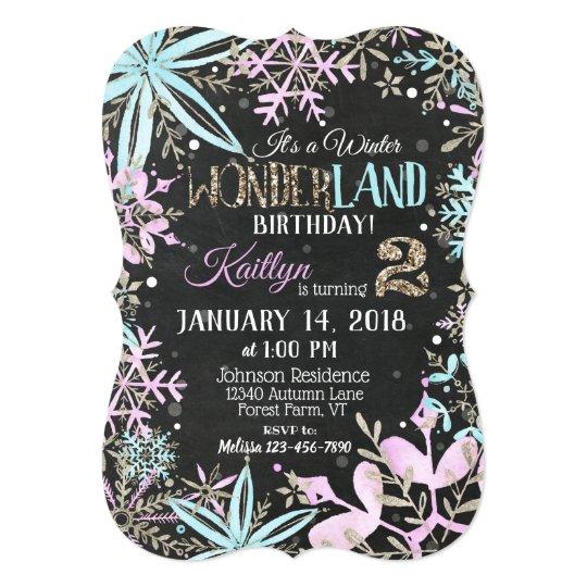 Winter Wonderland Snowflake Chalkboard Birthday Card