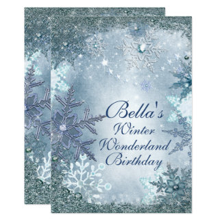 Winter Wonderland Snowflake Party Invitations