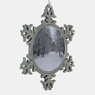 Winter wonderland snowflake pewter christmas ornament