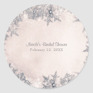 Winter Wonderland Snowflakes Creamy White Elegant Classic Round Sticker