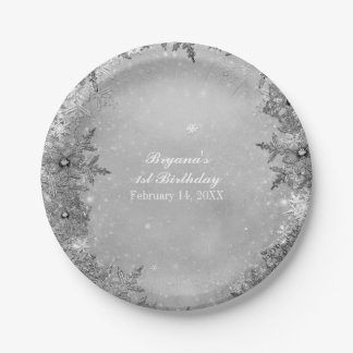 Winter Wonderland Snowflakes Silver Elegant Party Paper Plate