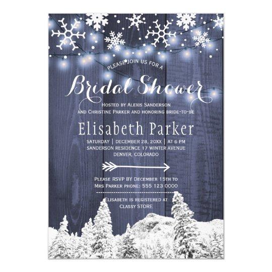 Winter wonderland snowing bridal shower card