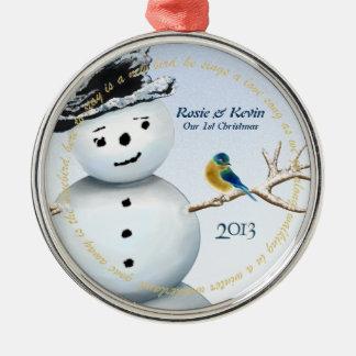 Winter Wonderland Snowman with Love Bird Metal Ornament