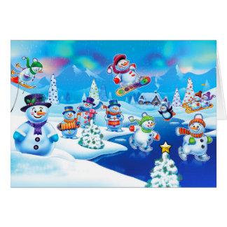 Winter Wonderland snowmen design Christmas card